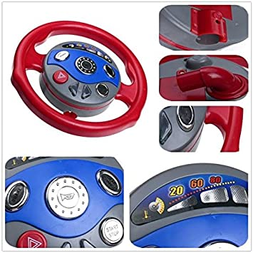 kids back window seat toy car steering wheel game horn electronic sounds light