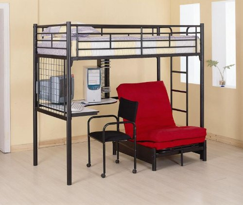 Futon Workstation Bunk Bed - Black Bunkbed Workstation with Desk, Chair, CD Rack and Futon Chair