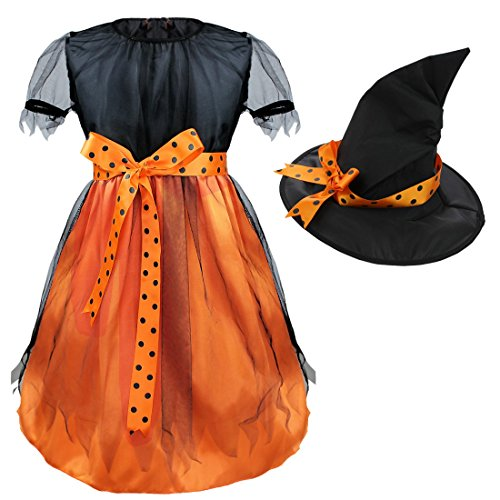 Cute Little Girl Ghost Costumes (iEFiEL Girls Halloween Mystery Mesh Witch Trick Play Costume Dress Top Hat Set Orange Black 6-7)