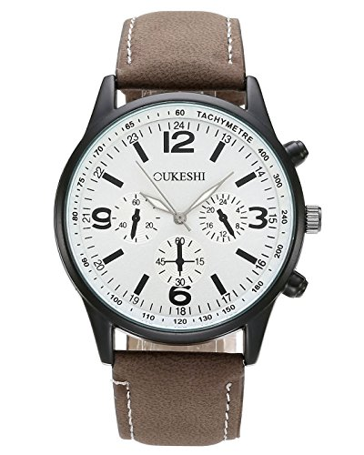 Top Plaza Unisex Casual Dress Arabic Numeral White Dial Brown Leather Band Analog Quartz Watch 3ATM Waterproof