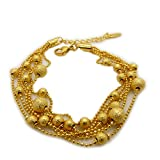 Skyjewelry Beads Link Chain Bracelet 24k Yellow Gold Plated Womens Bracelet (6pcs beads together)