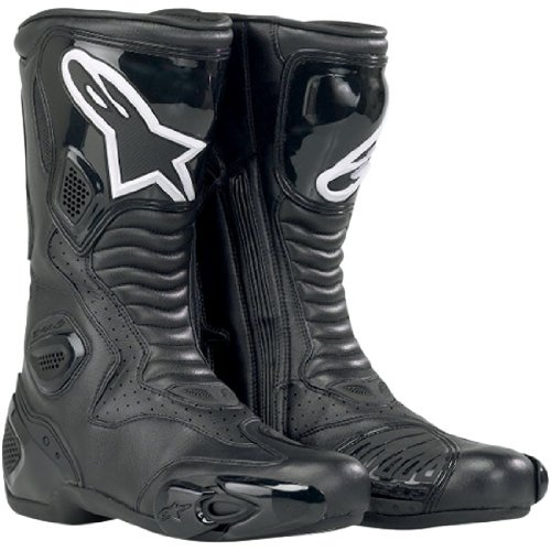 Vented Racing Boots - Alpinestars S-MX 5 Men's Performance/Road Riding Street Racing Motorcycle Boots - Black (Vented) / Size 46