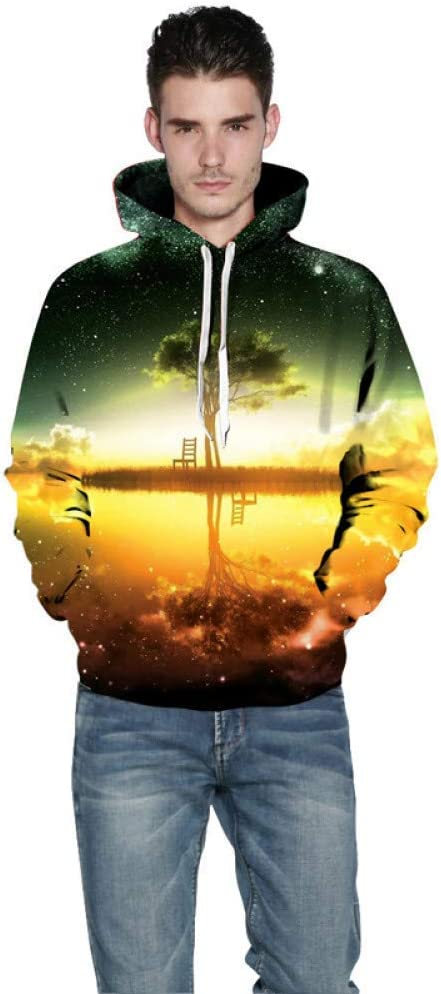 XIN 3D Kapuzenpullover Hoodie Sweatshirt Galaxy Tree Print Sweatshirt Herren 3D Frühling Fit Dünne Sweatshirts Herren Kapuzenpullover,* L L