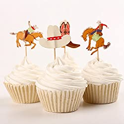 Fumee 24 Cowboy Cupcake Toppers Western Picks Cake Decorating Tools for Party Supplies