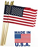 GiftExpress Pack of 12, Proudly MADE IN U.S.A. 8 x 12 Inch Spearhead Handheld American Stick Flags/Grave marker American Flags/USA Stick Flag (12)