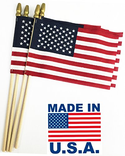 (GiftExpress Set of 12, Proudly Made in U.S.A. Small American Flags 4x6 Inch/Small US Flag/Mini American Stick Flag/American Hand Held Stick Flags Spear Top)