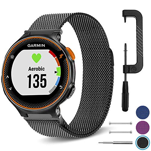 C2D JOY Compatible with Garmin Forerunner 220/230/235/620/630/735XT Watch Band Replacement Milanese Loop with Unique Magnet Lock - Black, Large