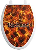 RNK Shops Fire Toilet Seat Decal - Elongated (Personalized)