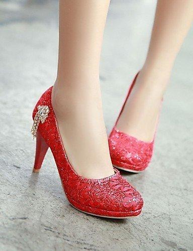 amp; Red Habillé ShangYi Chaussures Femme Or Aiguille Travail Talons Soirée Evénement Argent Talon Bureau amp; Mariage Rouge Bout q4T8qFw
