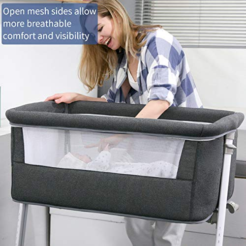 51K7itvwbdL - Baby Bassinet,RONBEI Bedside Sleeper,Baby Bed To Bed,Babies Crib Bed, Adjustable Portable Bed For Infant/Baby Boy/Baby Girl/Newborn (Dark Grey)