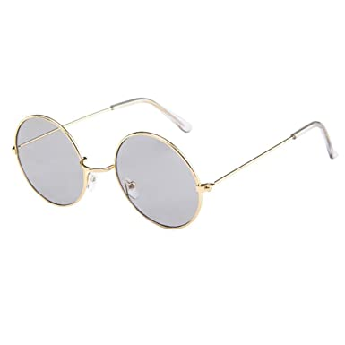 13ef9e6229 Amazon.com  🌸Islandse🌸7 Colors Fashion Unisex Retro Classic Circle Frame  Aviator Mirror Elegant Sunglasses Integrated Eyewear (A)  Clothing