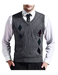 Zicac Men's V-neck Rhombus Knitwear Sweater Vest Waistcoat