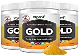 Organifi: Gold - Superfood Supplement Powder - 30 Day Supply - Experience Deeper Sleep- Boosts Immune System and Cognitive Function - Turmeric and Reishi Infused - Golden Milk - Detox -3pk