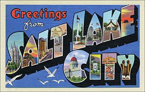 City Sticker - Greetings From SALT LAKE CITY Sticker (vintage utah post card design)