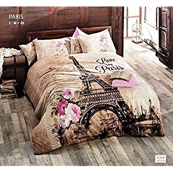 100% Turkish Cotton Ranforce Paris Eiffel Tower Theme Themed Full Double  Queen Size Quilt Duvet Cover Set Bedding 4 Pcs!! Made In Turkey