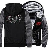 Mike Dustin Lucas Thick Fleece Hoodie Long Sleeve Sweatshirt Winter Hot TV Jacket For Teen and Men (Large, Grey)