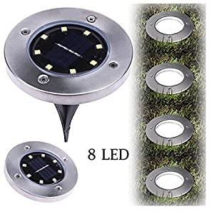 Hunzed LED Lights, Solar Power Light } { LED Under Ground Buried Light } { Outdoor Path Way Garden Decking Lamp Light } Home Decor