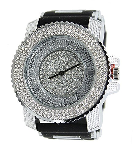 Mens Silicone Silver Tone Iced out Simulated Diamond Hip Hop Rapper Techno Pave Watch - Out Watch Tone Iced