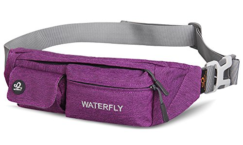 Waterfly Waist Bag Pack Slim Water Resistant Fanny Pack Travel Bum Bag...