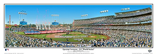 Los Angeles Dodger 2017 World Series MAJESTY Dodger Stadium Field - 13.5x39 Panoramic Poster. Frame Dimensions 15.5x41 Deluxe Black Wood Frame with Plexi Glass - Frame Angeles Los Sky