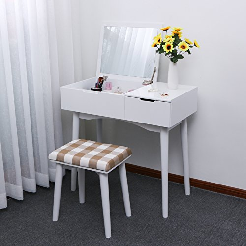 BEWISHOME Vanity Set with Flip Top Mirror & Cushioned Stool 4 Dividers Sliding Drawer Dressing Table Vanity Makeup Table White FST02W
