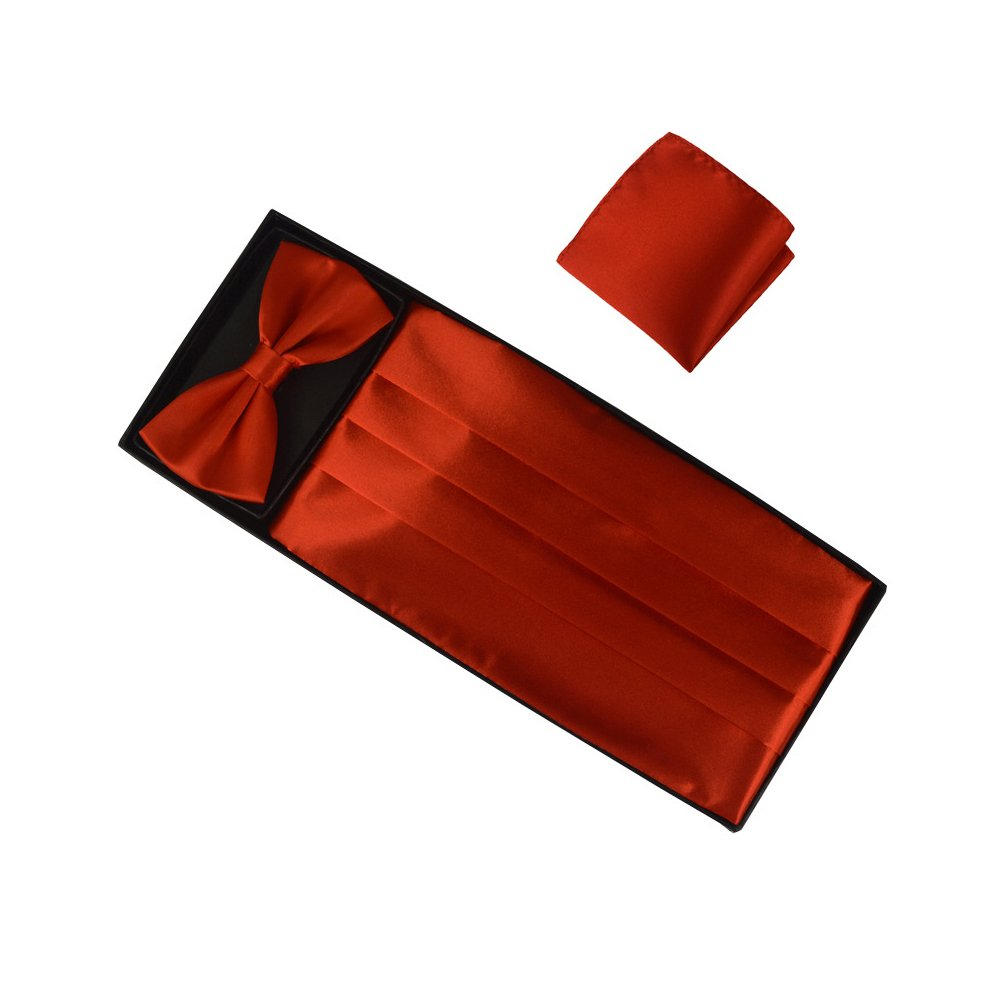 Silk 3pc Men's Formal Cummerbund & Bowtie & Pocket Square Set
