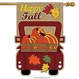 Briarwood Lane Happy Fall Pickup Burlap House Flag Autumn Give Thanks 28'' x 40''