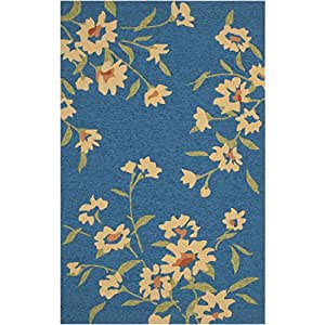 2' x 3' Yellow Spring Flowers on Peacock Blue Wool Area Throw Rug