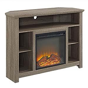 44 wood corner highboy fireplace tv stand driftwood kitchen dining. Black Bedroom Furniture Sets. Home Design Ideas
