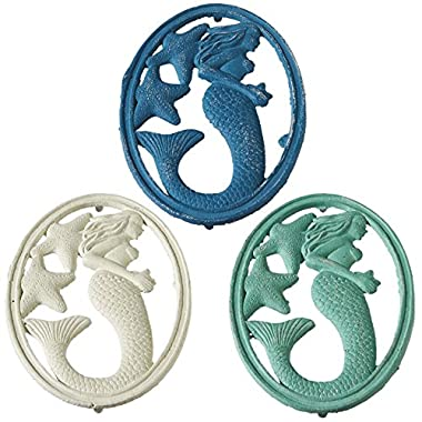 Coastal Mermaid and Starfish Oval Trivets Painted Cast Iron Kitchen Set of 3