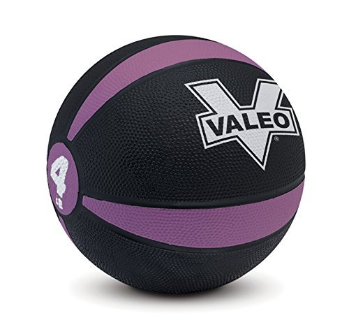 Valeo 4-Pound Medicine Ball With Sturdy Rubber Construction And Textured Finish, Weight Ball Includes Exercise Wall Chart For Strength Training, Plyometric Training, Balance Training And Muscle Build