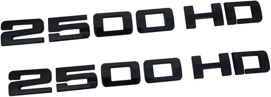 Glossy black 2Pcs 2500HD 2500 HD Nameplates Emblems 3D Decal Badges Replacement for Gm Silverado Sierra