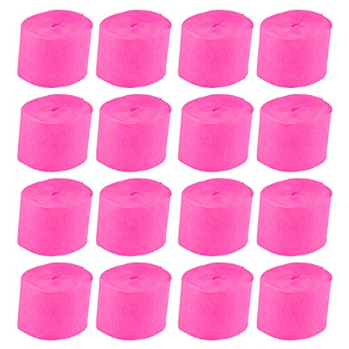 Crepe Paper Streamer - 16-Pack Paper Party Streamer Rolls for Wedding Ceremony, Festival, Birthday Party, Events Decoration, Hot Pink, 1.5 inches Wide, 78.7 Feet Long