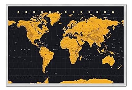 Amazon world map in black gold poster magnetic notice board world map in black gold poster magnetic notice board silver framed 965 x 66 gumiabroncs Gallery