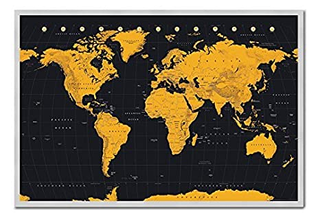 Amazon world map in black gold poster magnetic notice board world map in black gold poster magnetic notice board silver framed 965 x 66 gumiabroncs Images