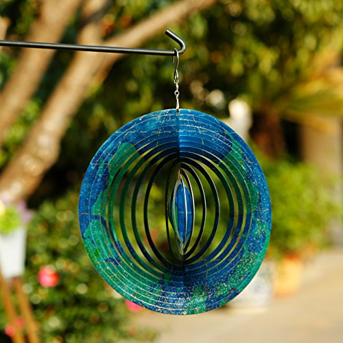 "CEDAR HOME Wind Spectrum Spinner Outdoor Hanging Metal Sculpture Garden Figurine Decor Art Ornament for Lawn Yard Patio 10"", World Travel for sale"