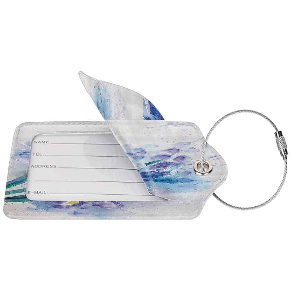 Small luggage tag Watercolor Flower Decor Floral Background With Pretty Irises in Fresh Colors Nature Earth Spirit Quickly find the suitcase Lilac Teal Ecru W2.7 x L4.6