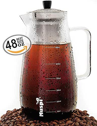 Large Cold Brew Coffee Maker – Iced Tea Brewer by Muspi – 1.5 Liter (48 Oz) Brewing Glass Pitcher with Removable Stainless Steel Filter