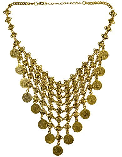 Idealway Bohemian Antalya Coin Necklace Turkish Gypsy Festival Beach Tier Chain Choker Bib Necklace (Gold) ()