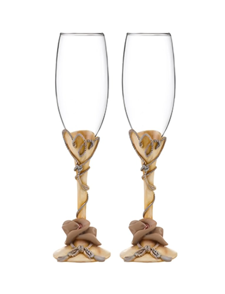 Cowboy Hats and Rope Toasting Flutes (Country Flair)