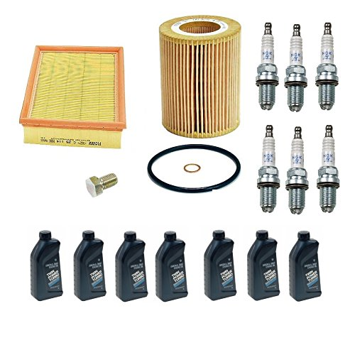 (BMW E46 E39 OEM Tune-up Kit NGK Spark Plugs Mann Oil + Air Filters + 7 Quarts Engine Oil)