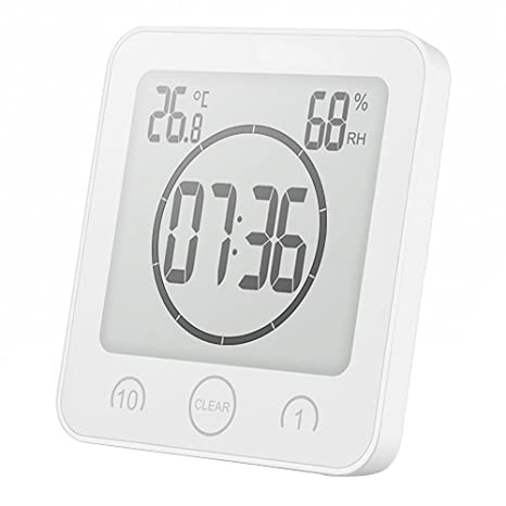 ONEVER Reloj de Baño Humedad Digital Temperatura Reloj Digital Reloj Temporizador Pantalla LCD Control Táctil Alarma
