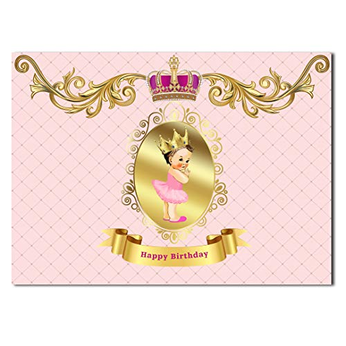 HUAYI Happy Birthday Princess with Crown Photo Backdrop Royal Themed Pink Photography Backdrop for Home Party Or Studio Baby Girl Pictures GW-934 -