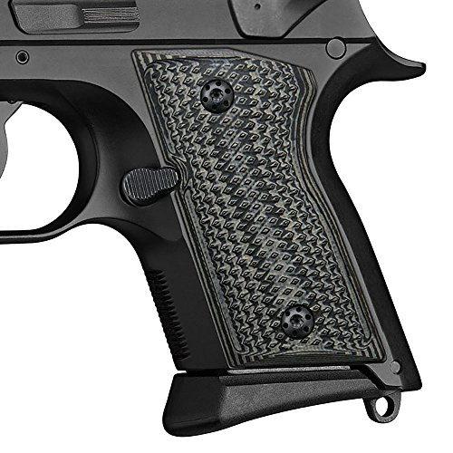 G10 Grips for CZ 2075 RAMI, Checker Diamond Cut, Cool Hand Brand, Grey/Black