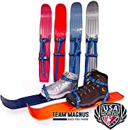 TEAM MAGNUS Snow skis for Kids as Used by USA Nordic & Ski Jumping Federation – Adjust to All Boot Sizes f