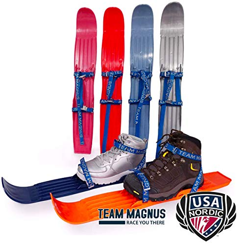 TEAM MAGNUS Snow skis for Kids as Used by USA Nordic & Ski Jumping Federation - Adjust to All Boot Sizes for Skills & Fun