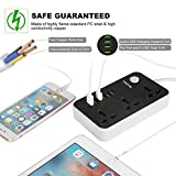 Power Strip with USB Ports Long Cord Universal Socket 3 Outlets Surge Protector 6 Quick USB (5V 3.4A 17W) Charging Station 6.5ft Power Cord 2500W Circuit Breaker Child Safe Door (BLACK)
