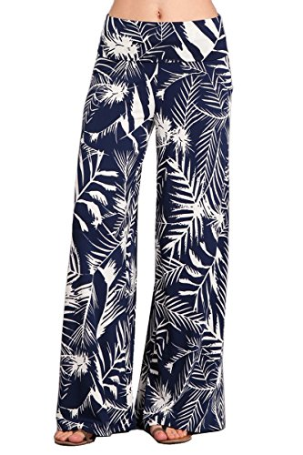 HEYHUN Womens Tie Dye Solid Wide Leg Bottom Boho Hippie Lounge Palazzo Pants - Navy Blue - Large - Wide Leg Palazzo Pants