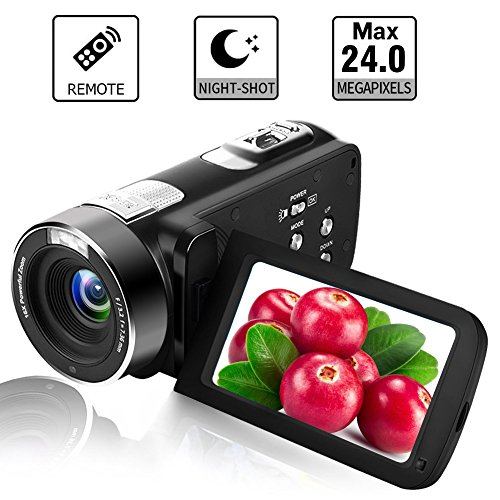Camcorder Digital Camera Full HD 18X Digital Zoom Night Vision Video Camcorder with LCD and 270 Degree Rotation Screen with Remote Control by LINNSE