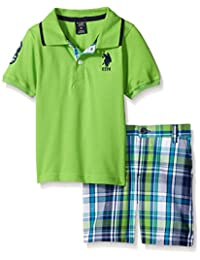 U.S. Polo Assn. boys 2 Piece Big Pony Solid Pique Polo Shirt and Plaid Short
